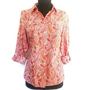 Tommy Hilfiger Paisley Button Down shirt size S/P